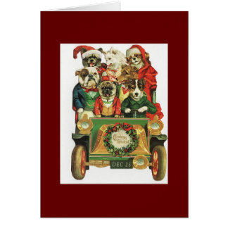 Tarjeta Carga del coche del navidad del vintage de perros