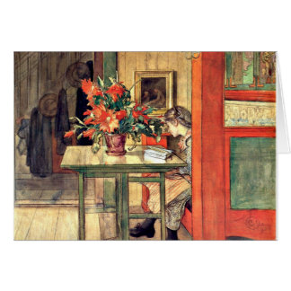 Tarjeta Carl Larsson - lectura de Lisbeth