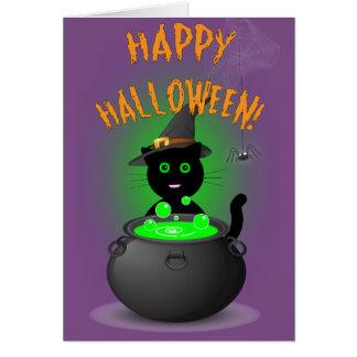 Tarjeta Carro lindo de Halloween de la bruja del gato