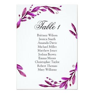 Tarjeta Carta púrpura del asiento del boda. Plan de la