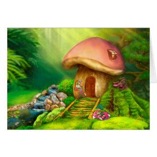 Tarjeta Casa de la cabaña de la seta de la fantasía de la