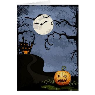 Tarjeta Casa encantada de Halloween en la noche