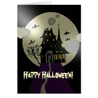 Tarjeta Casa encantada del feliz Halloween