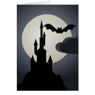 Tarjeta Casa encantada fantasmagórica de Halloween en la