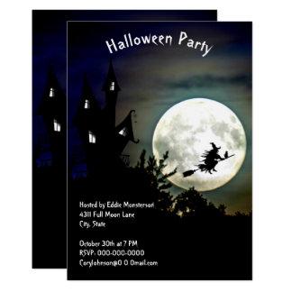 Tarjeta Casa encantada, Luna Llena, fiesta de Halloween de