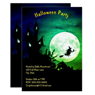 Tarjeta Casa, Luna Llena, bruja, fiesta verde de Halloween