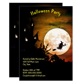 Tarjeta Casa, Luna Llena, fiesta anaranjado de Halloween