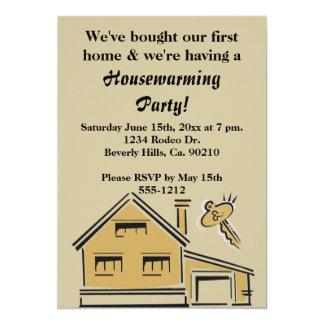 Tarjeta Casa y llave del fiesta del estreno de una casa
