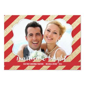 Tarjeta casada y brillante de la foto del rojo y invitación 12,7 x 17,8 cm