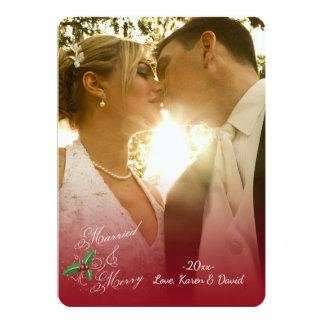 Tarjeta casada y feliz del día de fiesta de la