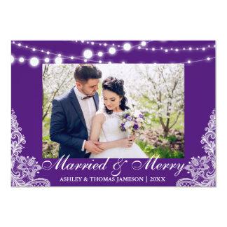 Tarjeta casada y feliz elegante P de la foto del