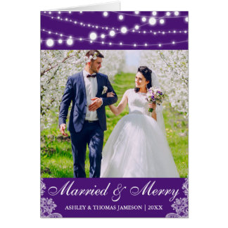Tarjeta casada y feliz elegante Purp L de la foto
