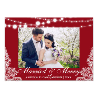 Tarjeta casada y feliz elegante R de la foto del