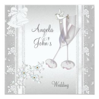Tarjeta Casando el cordón blanco de plata elegante floral
