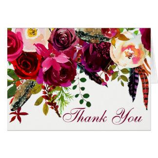 Tarjeta Casandose gracias cardar - Borgoña floral, plumas