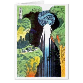 Tarjeta Cascada en el camino de Kisokaido, Hokusai de