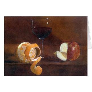 Tarjeta Cáscara de naranja, Apple y un vidrio de vino rojo