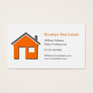 Tarjeta casera simple del agente inmobiliario del