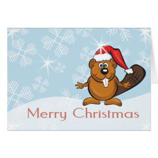 Tarjeta castor del navidad