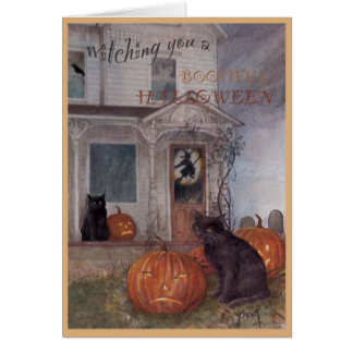Tarjeta CAT NEGRO de HALLOWEEN y casa encantada