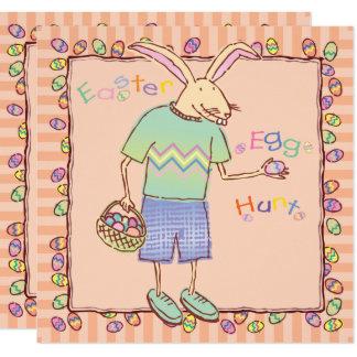 Tarjeta Caza divertida del huevo de Pascua del conejito