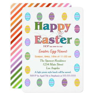 Tarjeta Celebración colorida de la caza del huevo de