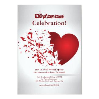 Tarjeta Celebración del divorcio del corazón quebrado