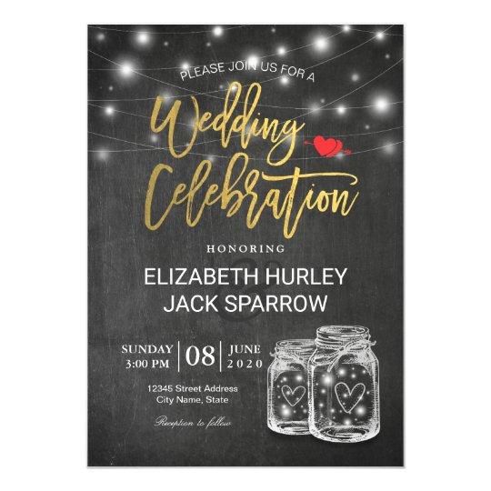 Tarjeta Celebración elegante del boda de la luz de la