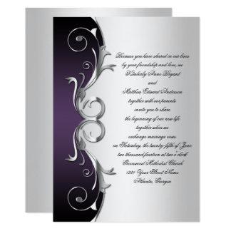 Tarjeta Celebración negra púrpura adornada de la bodas de