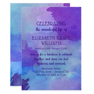 Tarjeta Celebración púrpura y azul de la vida de la