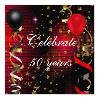 Tarjeta Celebre 50 estrellas rojas del 50.o de cumpleaños