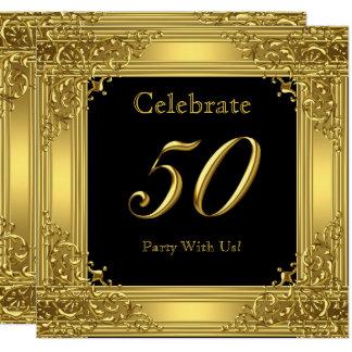 Tarjeta Celebre el negro de oro 50 del 50.o de cumpleaños