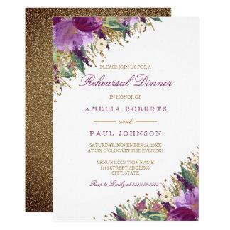 Tarjeta Cena Amethyst chispeante del ensayo del boda de la