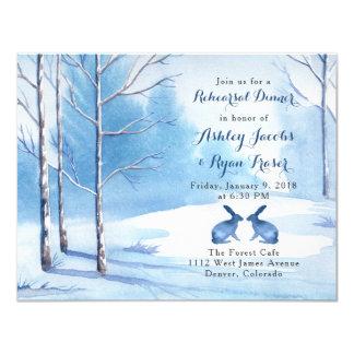 Tarjeta Cena blanca azul del ensayo del invierno del
