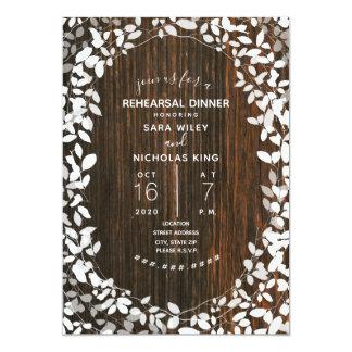 Tarjeta Cena botánica del ensayo del boda de Barnwood