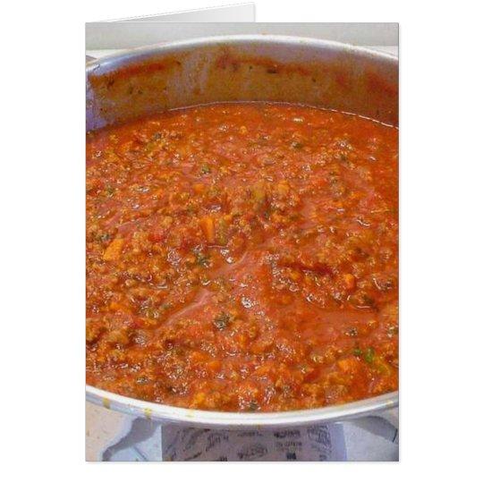Tarjeta Cena de los espaguetis que cocina la salsa del