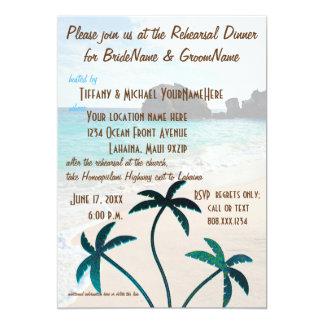 Tarjeta Cena del ensayo de las palmeras de la playa que