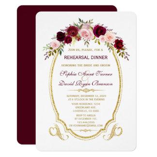 Tarjeta Cena floral del ensayo de la caída de Borgoña