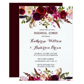 Tarjeta Cena floral del ensayo del boda de Borgoña Marsala