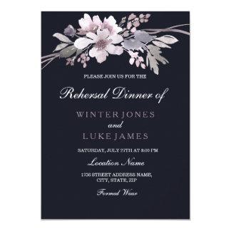 Tarjeta Cena floral del ensayo del boda del invierno