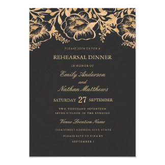 Tarjeta Cena floral del ensayo del boda del oro del