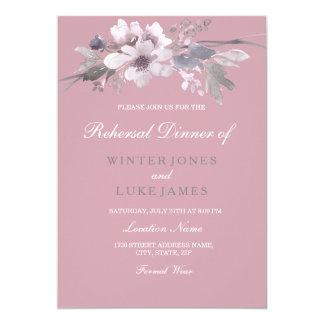 Tarjeta Cena floral elegante rosada polvorienta del ensayo