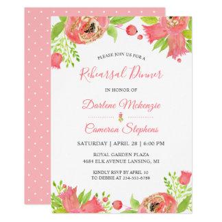 Tarjeta Cena floral rosada coralina brillante del ensayo