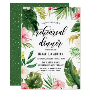Tarjeta Cena floral tropical del ensayo del marco de la