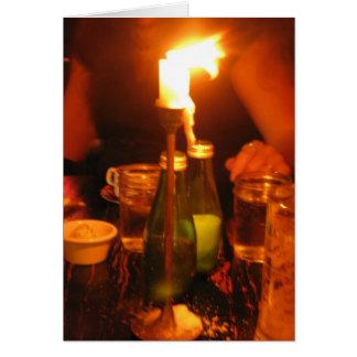 Tarjeta cena ligera de la vela