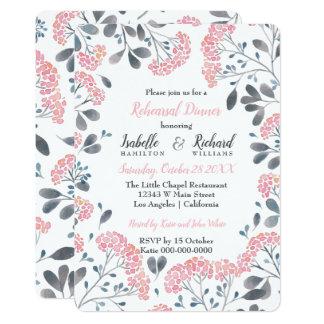 Tarjeta Cena rosada gris floral elegante del ensayo de la