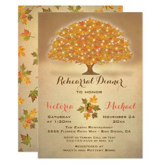 Tarjeta Cena rústica del ensayo del otoño con las luces