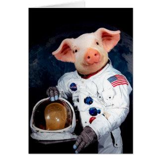 Tarjeta Cerdo del astronauta - astronauta del espacio