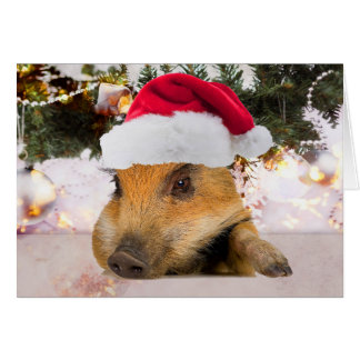 Tarjeta Cerdo dulce en árbol de navidad del gorra de Santa