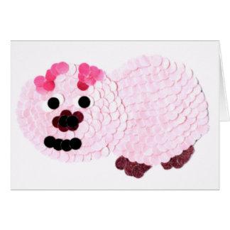Tarjeta Cerdo rosado